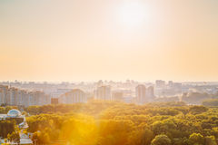 Cityscape of Minsk, Belarus. Summer season, sunset Royalty Free Stock Image
