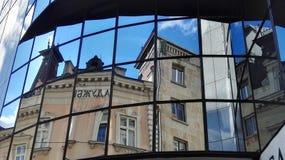 Cityscape. Mirror facade buildings rooftop sky Stock Photo