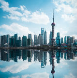 Cityscape of modern city with reflection in shanghai Royalty Free Stock Photos