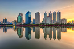 Cityscape modern condominium, Bangkok, Thailand at twilgiht sky, Royalty Free Stock Images