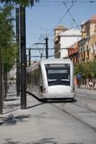 Cityscape. Modern streetcar. Spain. Europe. Stock Images