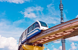 Cityscape with monorail train and TV tower Royalty Free Stock Photos