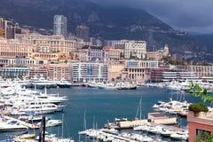 Cityscape of Monte Carlo and Hercules Harbor , Monte Carlo, Mona stock photos