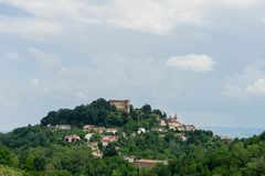 Cityscape of Monticello d`Alba. View of Monticello d`Alba with Castello, Piedmont Italy Stock Photos