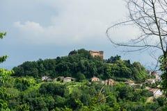 Cityscape of Monticello d`Alba. View of Monticello d`Alba with Castello, Piedmont Italy Stock Photo