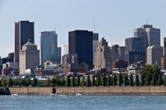 Cityscape of Montreal, Canada as seen from the St. Lawrence Rive Royalty Free Stock Photography