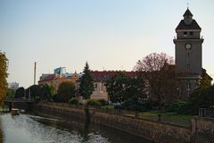 Cityscape with Morava river with an Evangelical Church in Olomouc, Czech Republic. Summer evening.  Stock Images