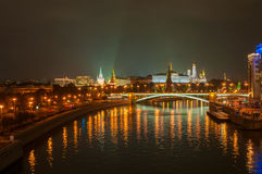 Cityscape Moscow with Kremlin and Moscow river Royalty Free Stock Images