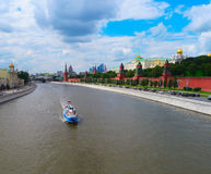 Cityscape of Moscow with Kremlin and Moscow river Stock Image