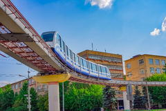 Cityscape of Moscow with monorail train Stock Images
