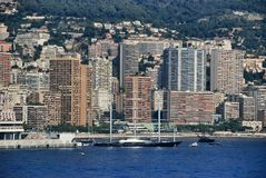 Cityscape and mountain landscape the Principality of Monaco Stock Photography