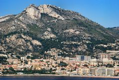 Cityscape and mountain landscape the Principality of Monaco Royalty Free Stock Image