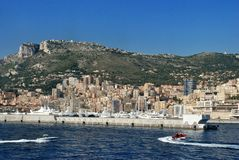 Cityscape and mountain landscape the Principality of Monaco Royalty Free Stock Images