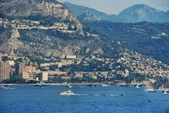Cityscape and mountain landscape the Principality of Monaco Stock Images