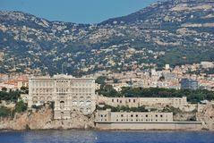 Cityscape and mountain landscape the Principality of Monaco Royalty Free Stock Photo
