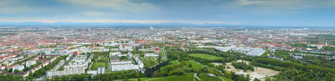 Cityscape of Munich. Panoramic aerial view of Munich cityscape in Bavaria, Germany Royalty Free Stock Photography
