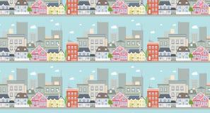 Cityscape naadloos patroon Stock Afbeeldingen