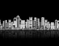 Cityscape naadloze achtergrond, stedelijk art. Stock Foto