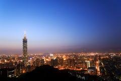 Cityscape in nacht Stock Foto's