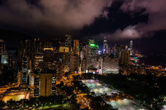 Cityscape nacht Victoria Park Causeway Bay Hong Kong stock afbeelding