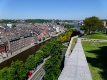 Cityscape of Namur view from the Historic Citadel of Namur, Wallonia region royalty free stock photo