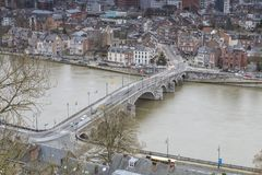 Cityscape of Namur view from the Historic Citadel of Namur, Wallonia region, Belgium Stock Images