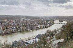 Cityscape of Namur view from the Historic Citadel of Namur, Wallonia region, Belgium Stock Photography