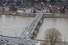 Cityscape of Namur view from the Historic Citadel of Namur, Wallonia region, Belgium Royalty Free Stock Images