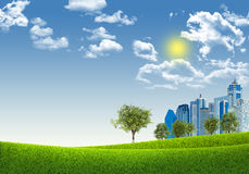 Cityscape on nature background Stock Photography