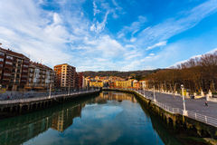 Cityscape of Nervion river in the center on Bilbao Stock Photos