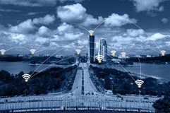 Cityscape and network connection concept. Royalty Free Stock Photo