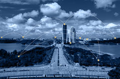 Cityscape and network connection concept. Royalty Free Stock Photography