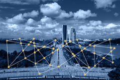 Cityscape and network connection concept. Royalty Free Stock Photos