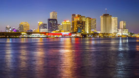 Cityscape of New Orleans Across the Mississippi River Royalty Free Stock Photos