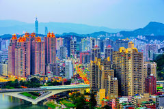 Cityscape of New Taipei Xindian district Royalty Free Stock Photo