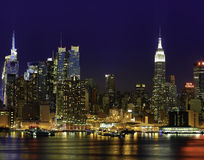 Empire State Building New York Skyline. Cityscape of New York Midtown Manhattan at Night from JFK Boulevard East in New Jersey. New York is the most populous Royalty Free Stock Image