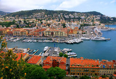 Cityscape of Nice(France), harbor view from above. Panoramic view of Nice (Cote d'Azur, France) with harbor, yachts and beautiful buildings. View from above Stock Photography