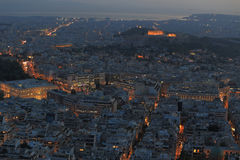 Cityscape at night, Athens Greece Royalty Free Stock Photos