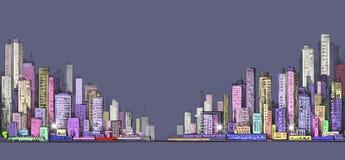 Cityscape night background. Hand drawn vector illustration Stock Photos