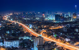 Cityscape at Night in Bangkok, Thailand Stock Images