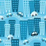 Blue City Toy Cars Seamless Background vector illustration