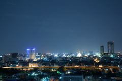 Cityscape at night. Cityscape night bokeh in bangkok thailand Stock Photo