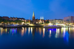 Cityscape of night Bremen Royalty Free Stock Photography