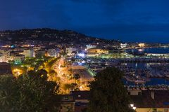 Cityscape by night from Cannes Stock Image