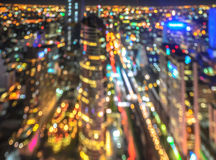 Cityscape night lights bokeh background Royalty Free Stock Photos