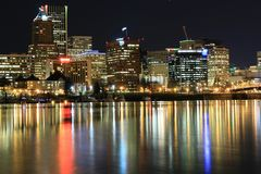 Cityscape. Night lights over portland Royalty Free Stock Photo
