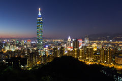Cityscape of night lights in Taipei Stock Images