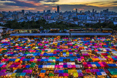 Cityscape of night market Stock Image