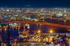 Cityscape in the Night of Osaka Bay Stock Photo
