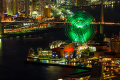 Cityscape in the Night of Osaka Bay Royalty Free Stock Images
